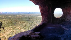 Looking out of the Shaman's Cave toward the valley below.