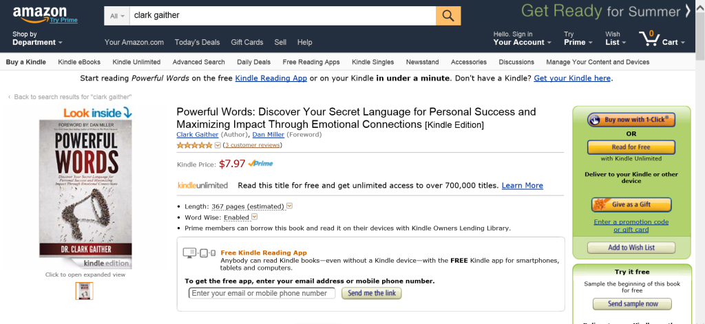 Screen shot of POWERFUL WORDS listing at Amazon.